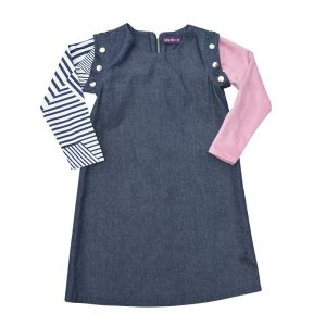 Denim Dress Pink and Striped Long Sleeve