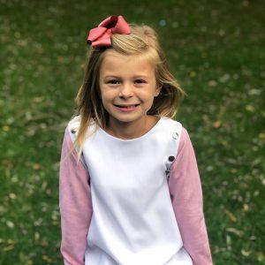 Lola Starr White Dress Long Pink Sleeves