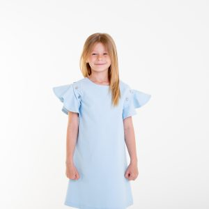 Baby blue dress with flouncy sleeves