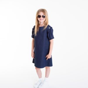 Denim dress with original sleeves