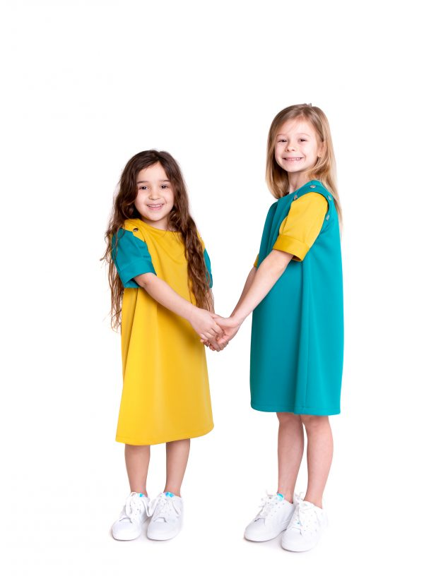 Mixed mustard & teal POP dresses