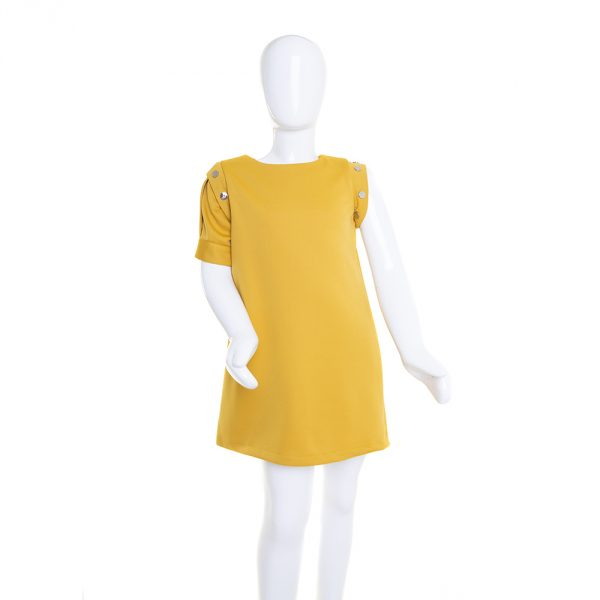 Lola Starr mustard dress short sleeve