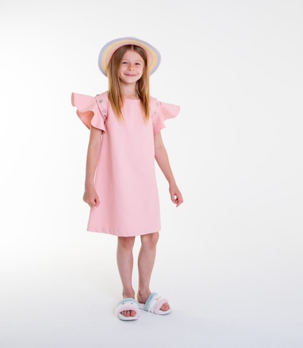 pink denim flouncy sleeve dress
