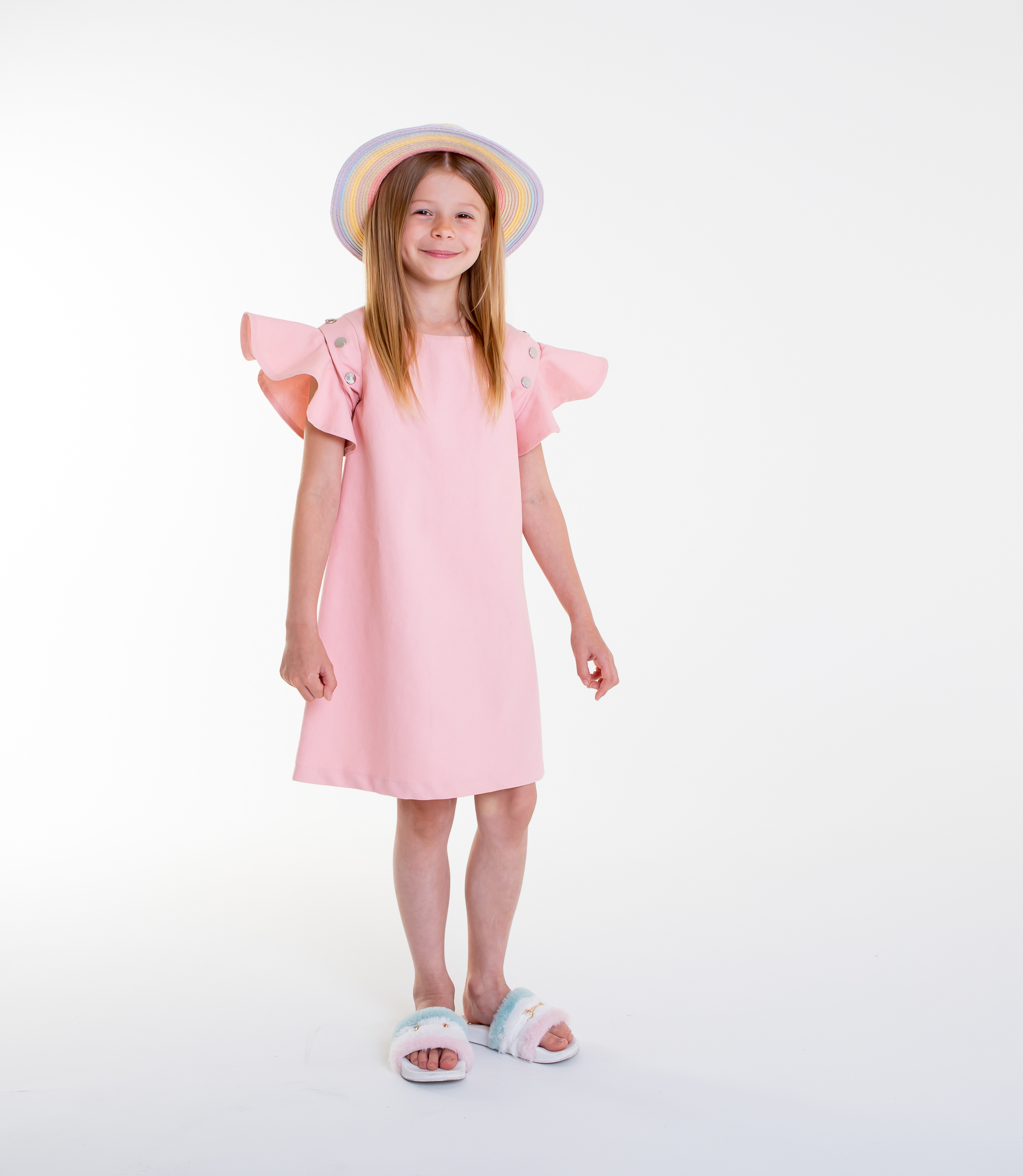pink denim flouncy sleeve dress