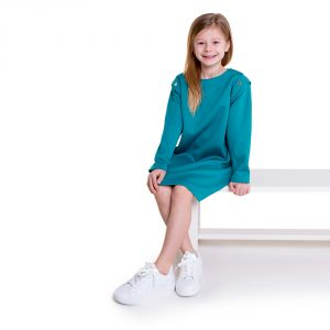 lola starr Teal Long Scuba Sleeve