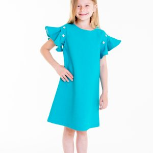 Turquoise dress with flouncy sleeves
