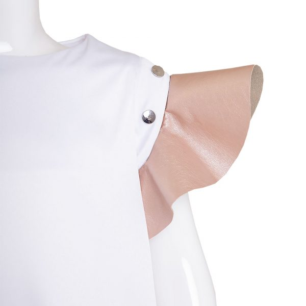 Lola Starr Metallic Blush Flouncy Sleeve
