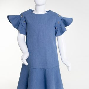 Light denim flouncy dress
