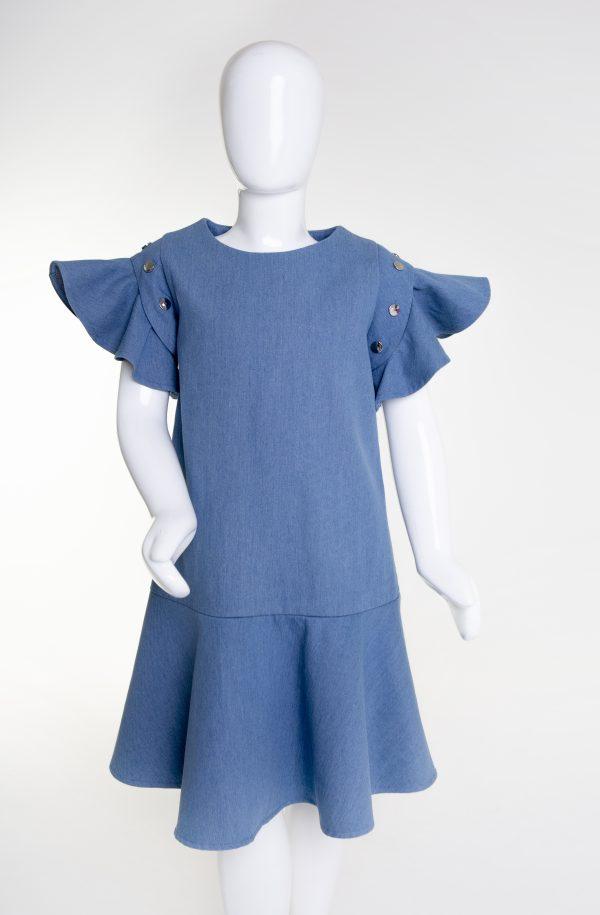 Light denim flouncy dress