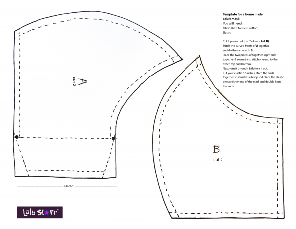 Adult facemask template instructions
