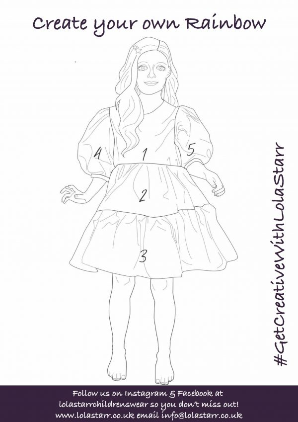 Rainbow dress outline numbered