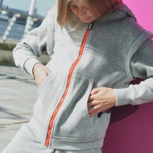 Grey hoodie close up
