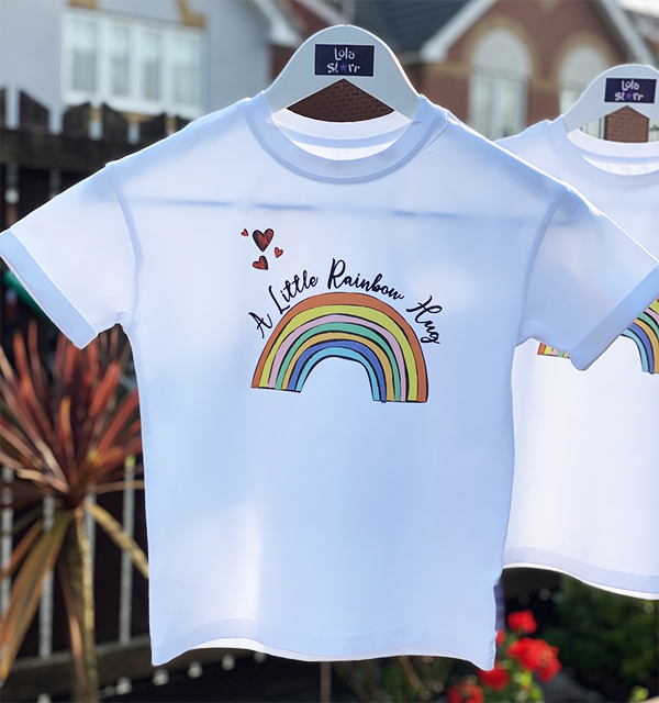 rainbow t-shirt on the line