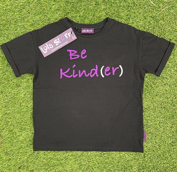 Black t-shirt purple glitter
